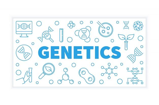 Genetica vector blauwe horizontale illustratie