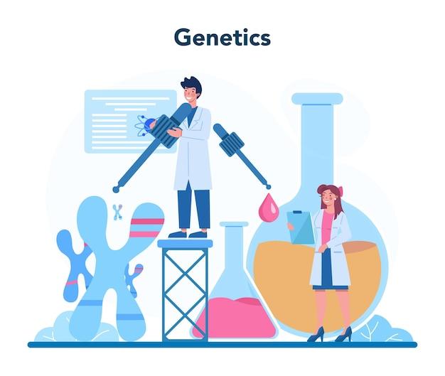 Geneticus concept. geneeskunde en wetenschapstechnologie. wetenschappers werken met molecuulstructuur. analyse en innovatie.
