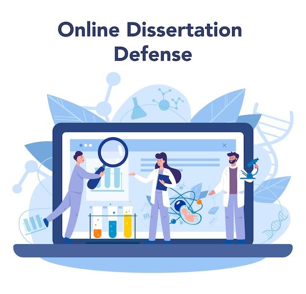 Geneticus online service of platform. geneeskunde en wetenschapstechnologie. wetenschappers werken met molecuulstructuur. online verdediging tegen dessert. vector illustratie