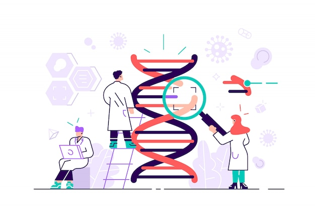 Genetisch dna wetenschap illustratie concept. toont een groep wetenschappers die dna onderzoeken, geschikt voor bestemmingspagina, ui, web, app-intro-kaart, redactie, flyer en banner. vlakke stijl