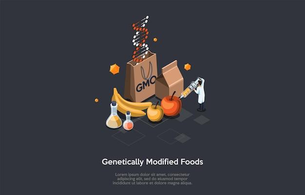 Genetisch gemodificeerde voedselillustratie op donker