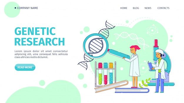 Genetisch onderzoek, lijn landing vectorillustratie. wetenschappers man vrouw bestuderen dna-structuur door vergrootglas op laboratorium.