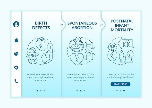 Genetische defecten resulteren in onboarding vectorsjabloon. responsieve mobiele website met pictogrammen. webpagina walkthrough 3 stap schermen. kleurconcept voor kindergezondheidszorg met lineaire illustraties