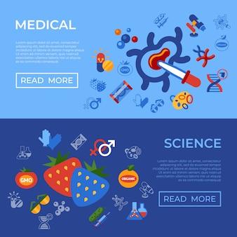 Genetische engineering gmo-technologie pictogrammen instellen