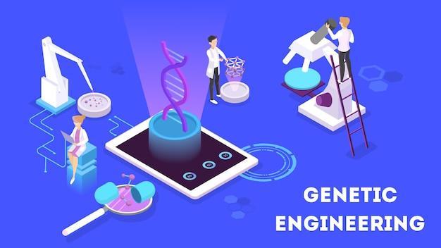 Genetische manipulatie concept. biologie en scheikunde-experiment. uitvinding en innovatie in de geneeskunde. futuristische technologie. isometrische illustratie