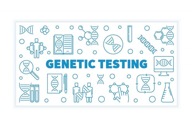 Genetische test blauwe omtrek horizontale banner