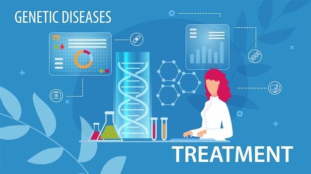 Genetische ziekte medische behandeling in vlakke stijl