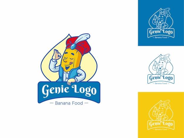 Genie banana food logo, vers geel fruit concept geïsoleerd, flat outline cartoon