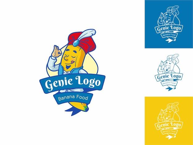 Genie food logo flat outline cartoon style, vers geel, fruit & food concept geïsoleerd.