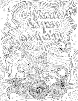 Genie lamp stock drawing zwevend boven de bloemen onder inspirerende boodschap. theepot lijntekening zwevend over de tuin onder een positieve sfeernoot.