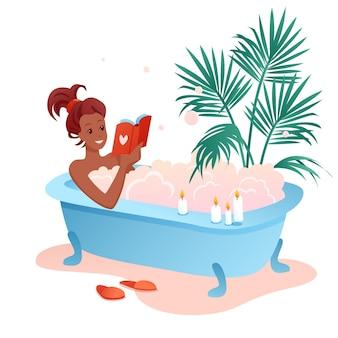 Geniet van badtijd. jonge afrikaanse vrouw stripfiguur genieten van bad, meisje leesboek