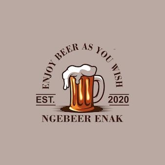 Geniet van bierlogo-ontwerp