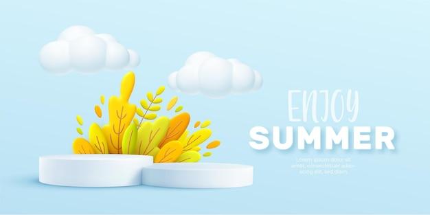 Geniet van de 3d-realistische achtergrond van de zomer met wolken, gras, bladeren en productpodium