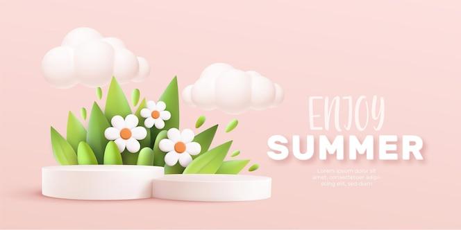 Geniet van de 3d-realistische achtergrond van de zomer met wolken, madeliefjes, gras, bladeren en productpodium