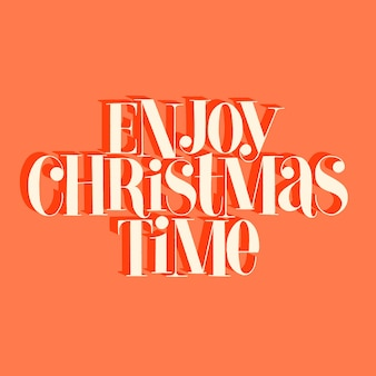 Geniet van de handgetekende belettering van de kersttijd voor de kersttijd. tekst voor sociale media, print, t-shirt, kaart, poster, relatiegeschenk, bestemmingspagina, webdesignelementen. vector illustratie