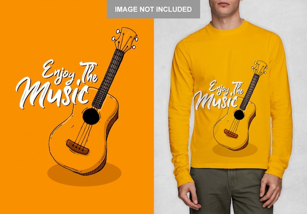 Geniet van de muziek, typografie t-shirt design vector