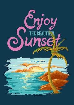 Geniet van de prachtige zonsondergang op het strand retro videogame met pixelart