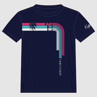 Geniet van de tripcalifornia illustratie typografie vector t-shirt print premium vector
