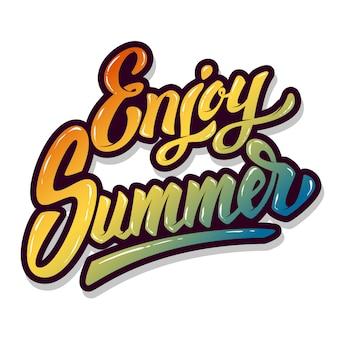 Geniet van de zomer. hand getrokken belettering zin op witte achtergrond. element voor poster, t-shirt. illustratie