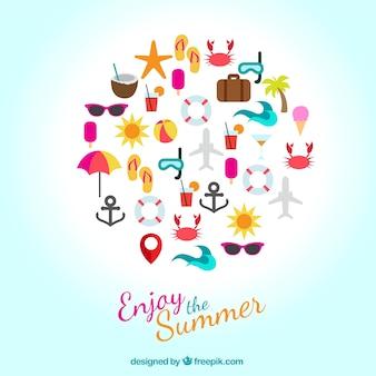 Geniet van de zomer iconen