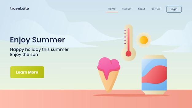 Geniet van de zomercampagne voor de sjabloon voor spandoek van de startpagina van de website van de website