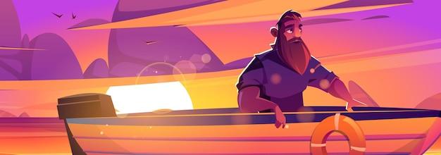 Geniet van een momentposter met man in boot bij zonsondergang