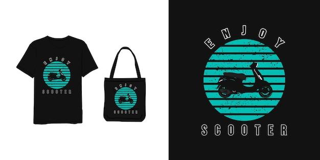 Geniet van een scooter, een t-shirt en een tas in blauw, minimalistisch, modern, eenvoudig