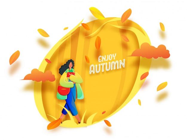 Geniet van herfst lettertype met jong meisje met boek, zijtas en papieren bladeren versierd op gele en witte achtergrond.