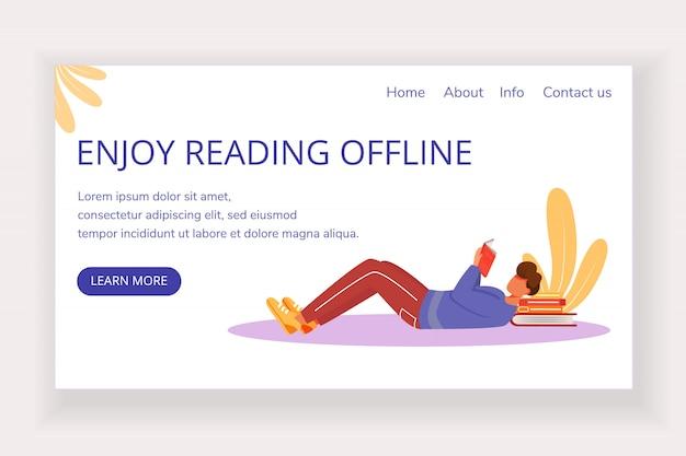Geniet van het lezen van offline vector-sjabloon voor bestemmingspagina boekwinkel website-interface idee met platte illustraties. scherpe lay-out van de homepage van de lezer. bestemmingspagina