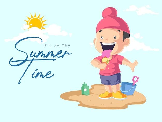 Geniet van het zomerse ontwerp met punjabi boy