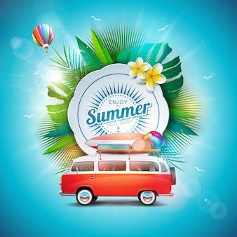 Geniet van het zomervakantieontwerp met reisbus en luchtballon