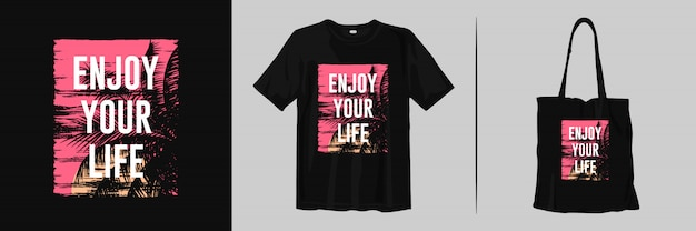 Geniet van je leven, inspirerende woorden met zonsondergangsilhouetten voor t-shirt en draagtas