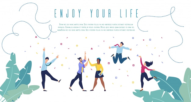 Geniet van je leven platte vector banner websjabloon