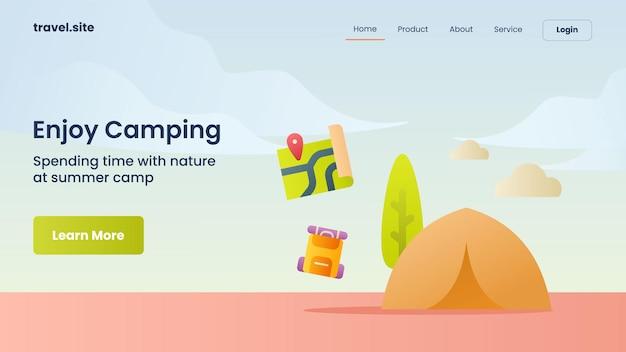 Geniet van kampeercampagne voor webwebsite home homepage landing