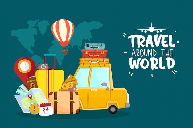 Geniet van reizen over de hele wereld door auto-illustratie