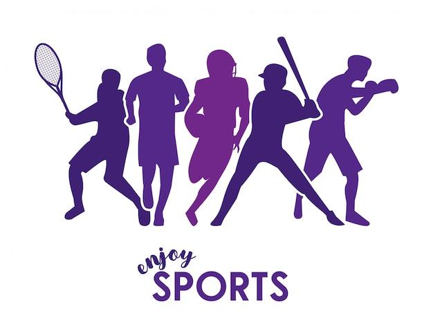Geniet van sporttekst met paarse atletensilhouetten