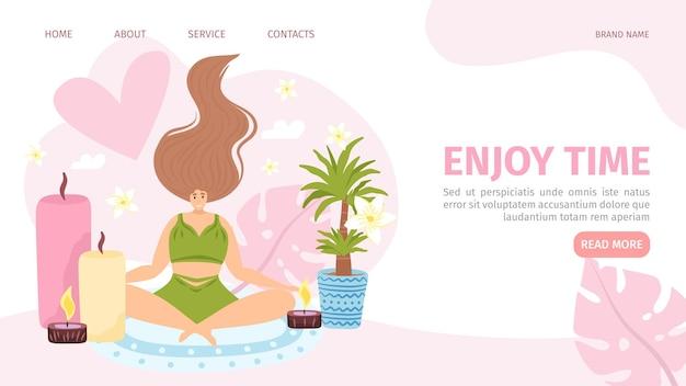 Geniet van tijd voor platte vrouw website pagina vector illustratie vrouwelijke karakter ontspanning met aroma ca...