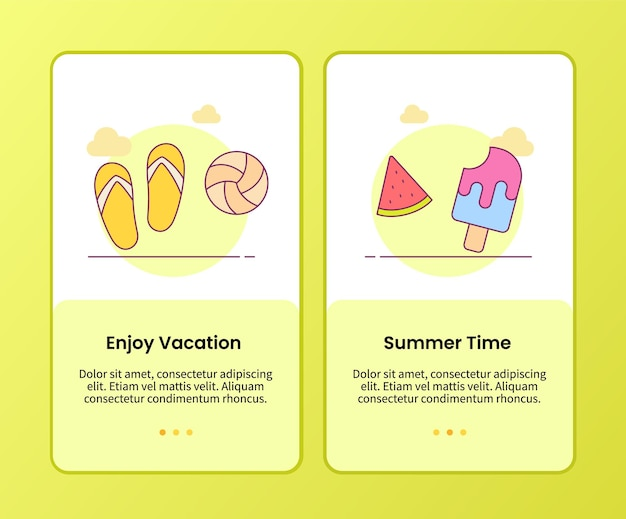 Geniet van vakantie zomertijd campagne voor onboarding van mobiele apps-sjabloon