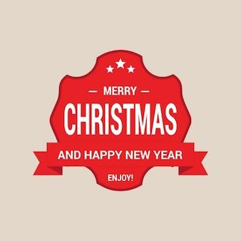 Geniet van vrolijk kerstfeest en gelukkig nieuwjaar label card design