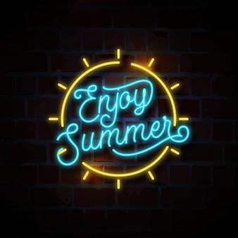 Geniet van zomer neon teken illustratie