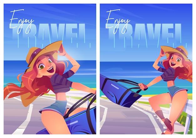 Geniet van zomer reizen cartoon posters oceaan reis Gratis Vector