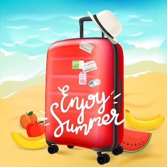 Geniet van zomer reizen concept met kalligrafische logo