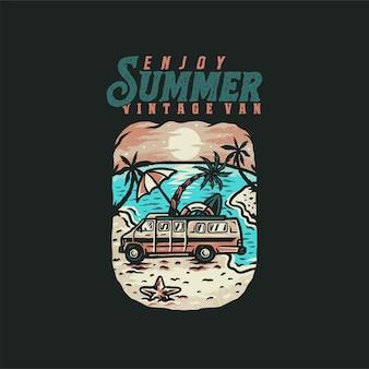 Geniet van zomer vintage bestelwagen t-shirt, handgetekende lijnstijl met digitale kleur, illustratie
