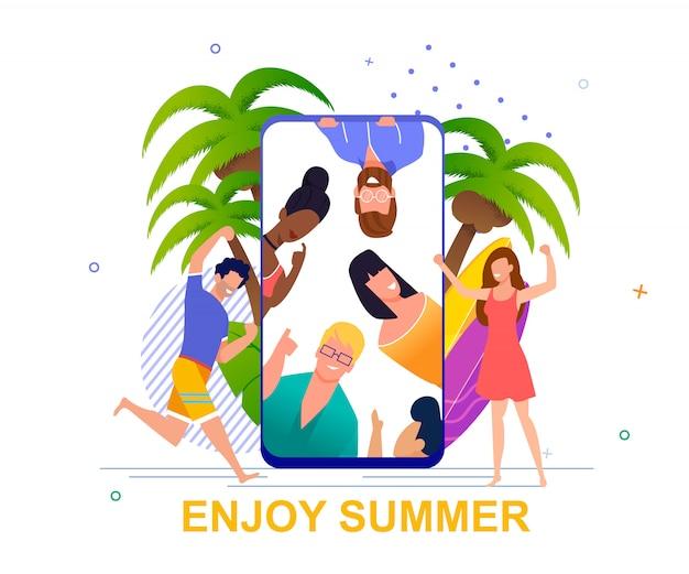 Geniet van zomermotivatie. social media cartoon happy man en vrouw rusten op tropisch strand