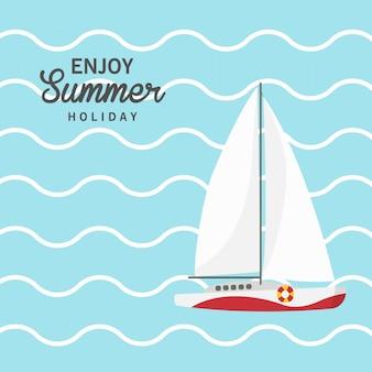 Geniet van zomervakantie, zeilboot, schip, vaartuig, luxejacht, speedboot.