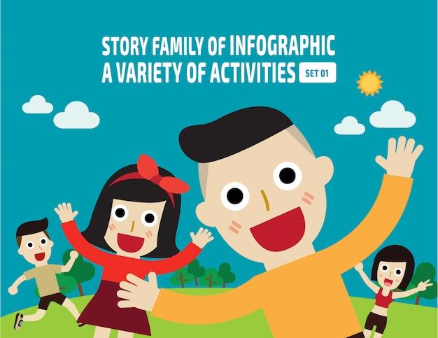 Genieten van gelukkige aziatische familie springen samen op buiten park.