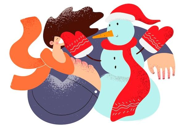 Genieten van wintertijd en sneeuwconcept