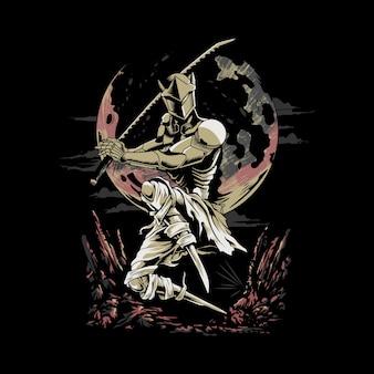 Genji vechten in de nacht