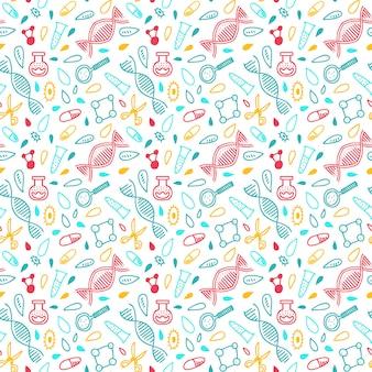 Genoomsequentie patroon in felle kleuren. achtergrond in doodle-stijl. dna, genoom