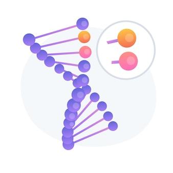 Genoomwijziging, wijziging van de dna-sequentie. toekomstige wetenschap, biotechnologie-studie, ontwerpelement voor bio-engineeringideeën. genetische structuuranalyse. vector geïsoleerde concept metafoor illustratie